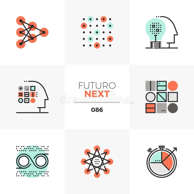 Machine Learning Futuro Next Icons stock illustration