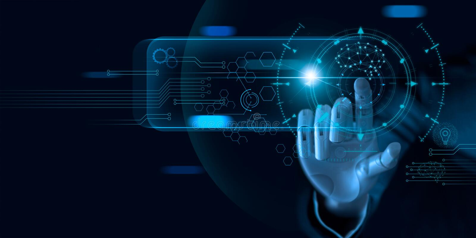 Machine learning. Hand of robot touching on binary data. Futuristic Artificial intelligence AI. Deep Learning. stock photography