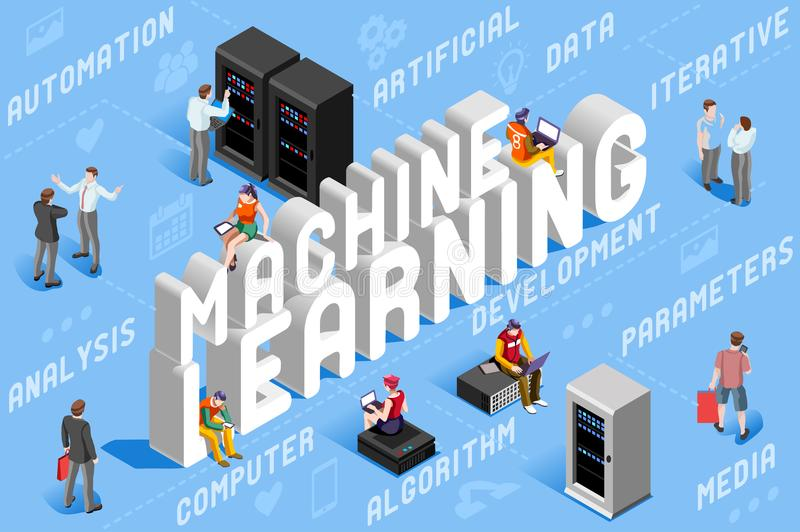 Machine Learning Illustration Artificial Intelligence. Machine learning illustration. New technology for robots. 3D vector design vector illustration