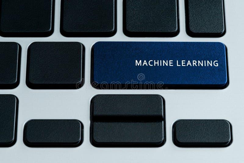 Machine Learning Keyboard. Machine Learning on laptop Keyboard. Theme of business technology and digital enterprise stock image