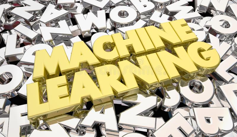 Machine Learning Letters Words Artificial Intelligence royalty free illustration