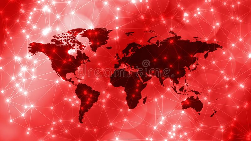 Machine learning network bots, world map and connected lines with circles. Connected dots with lines and graphic world map, creative abstract background. Global royalty free stock image
