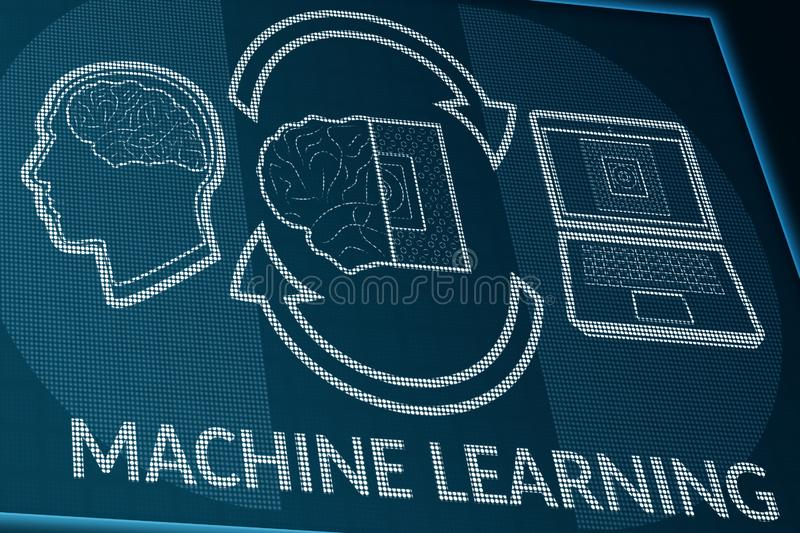 Machine learning on pixels screen. Perspective view of monitor or info desk with man brain and computer processor data exchange stock illustration