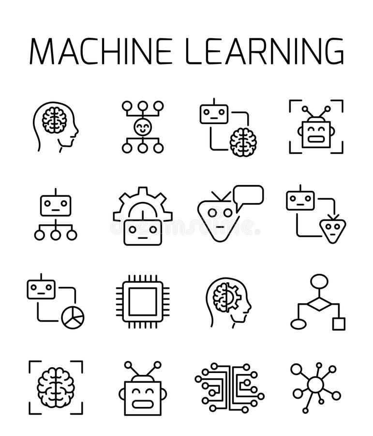 Machine learning related vector icon set. Well-crafted sign in thin line style with editable stroke. Vector symbols isolated on a white background. Simple stock illustration