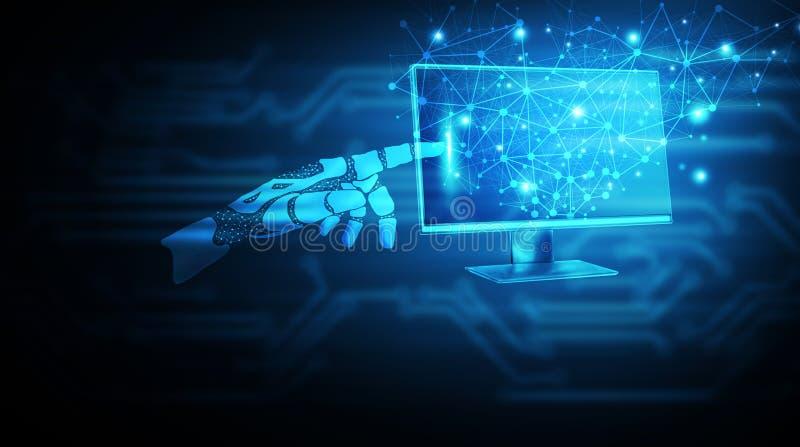 Machine learning Robothand die het scherm aanraakt vector illustratie