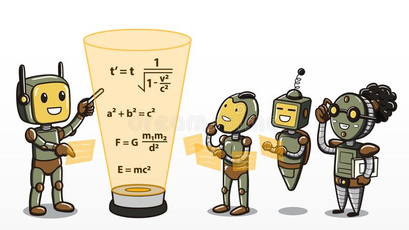 Machine learning - Robots learning mathematics equations vector illustration