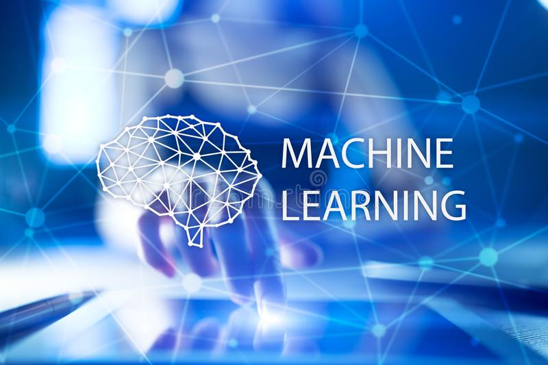 Machine learning technology and artificial intelligence in modern manufacturing. stock images