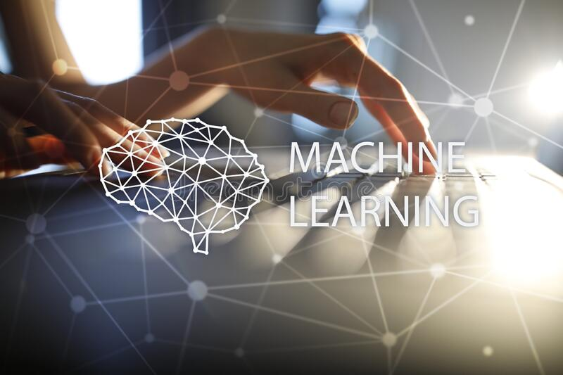 Machine learning technology and artificial intelligence in modern manufacturing. royalty free stock photography