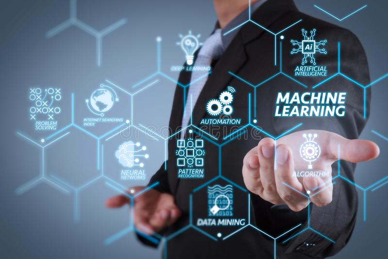 Business man with an open hand as showing something. Machine learning technology diagram with artificial intelligence (AI),neural network,automation,data mining royalty free stock image