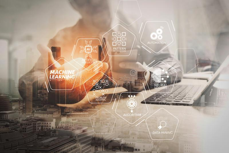 Double exposure of success businessman working in office with di. Machine learning technology diagram with artificial intelligence (AI),neural network,automation stock photography