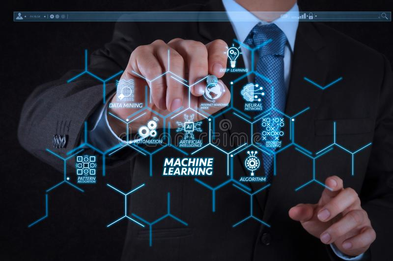 Businessman hand writing in the whiteboard. Machine learning technology diagram with artificial intelligence (AI),neural network,automation,data mining in VR royalty free stock images