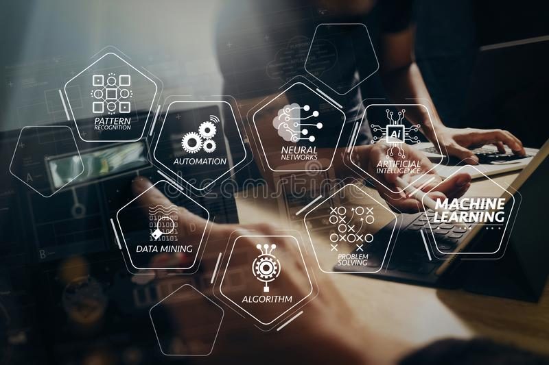 StartUp Programming Team. Website designer working digital table. Machine learning technology diagram with artificial intelligence (AI),neural network,automation stock image