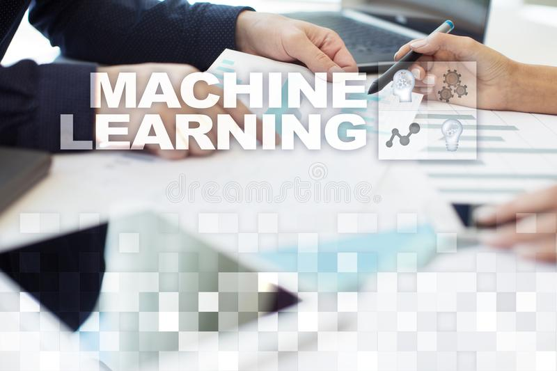 Machine Learning. Text and icons on virtual screen. Business, internet and technology concept. Machine Learning. Text and icons on virtual screen. Business royalty free stock photo