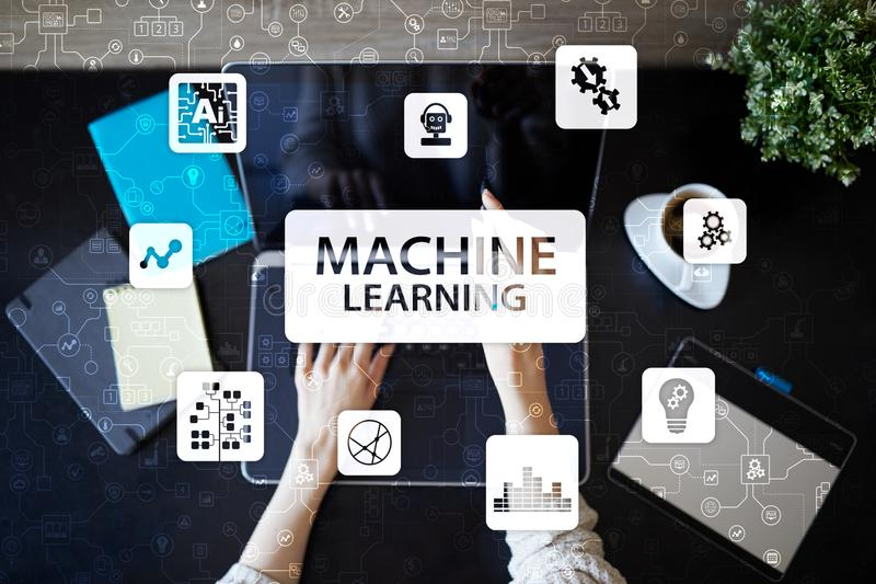 Machine Learning. Text and icons on virtual screen. Business, internet and technology concept. Machine Learning. Text and icons on virtual screen. Business stock photo