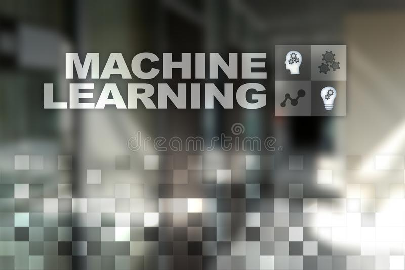 Machine Learning. Text and icons on virtual screen. Business, internet and technology concept. royalty free illustration