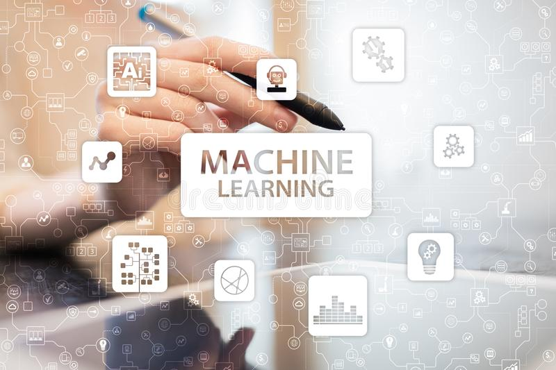 Machine Learning. Text and icons on virtual screen. Business, internet and technology concept. Machine Learning. Text and icons on virtual screen. Business stock photography