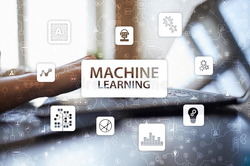 Machine Learning. Text and icons on virtual screen. Business, internet and technology concept. stock photos