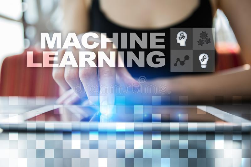 Machine Learning. Text and icons on virtual screen. Business, internet and technology concept. Machine Learning. Text and icons on virtual screen. Business royalty free stock photos