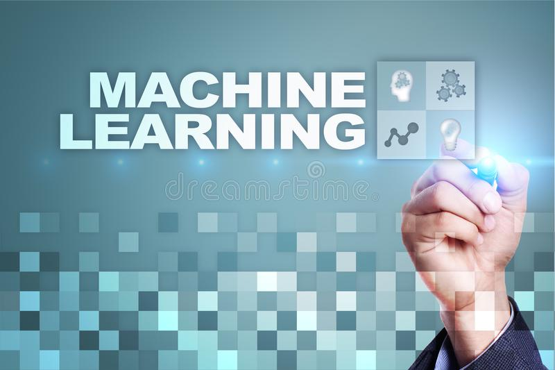 Machine Learning. Text and icons on virtual screen. Business, internet and technology concept. Machine Learning. Text and icons on virtual screen. Business stock image