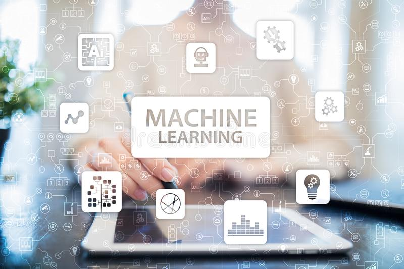 Machine Learning. Text and icons on virtual screen. Business, internet and technology concept. Machine Learning. Text and icons on virtual screen. Business stock images