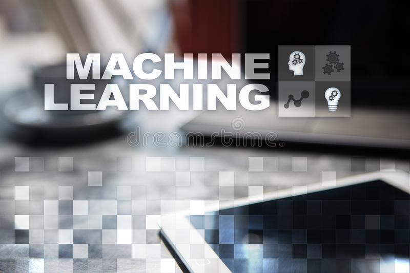 Machine Learning. Text and icons on virtual screen. Business, internet and technology concept. Machine Learning. Text and icons on virtual screen. Business royalty free stock image