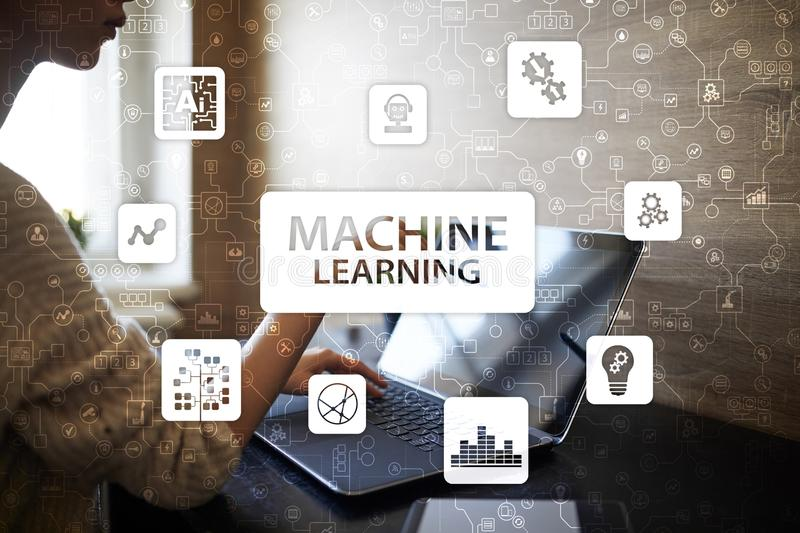 Machine Learning. Text and icons on virtual screen. Business, internet and technology concept. Machine Learning. Text and icons on virtual screen. Business stock photos