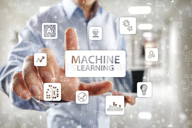 Machine Learning. Text and icons on virtual screen. Business, internet and technology concept. Machine Learning. Text and icons on virtual screen. Business royalty free stock photography