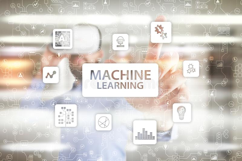 Machine Learning. Text and icons on virtual screen. Business, internet and technology concept. royalty free stock photos