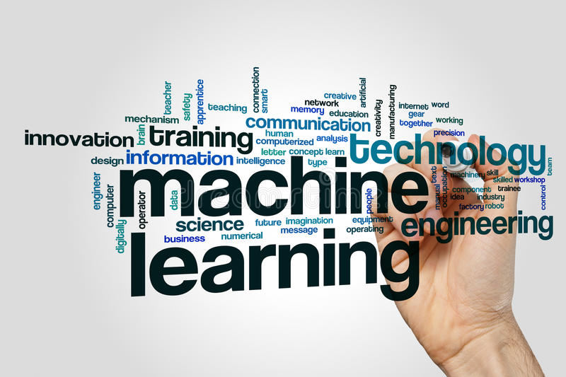 Machine learning word cloud. Concept stock image