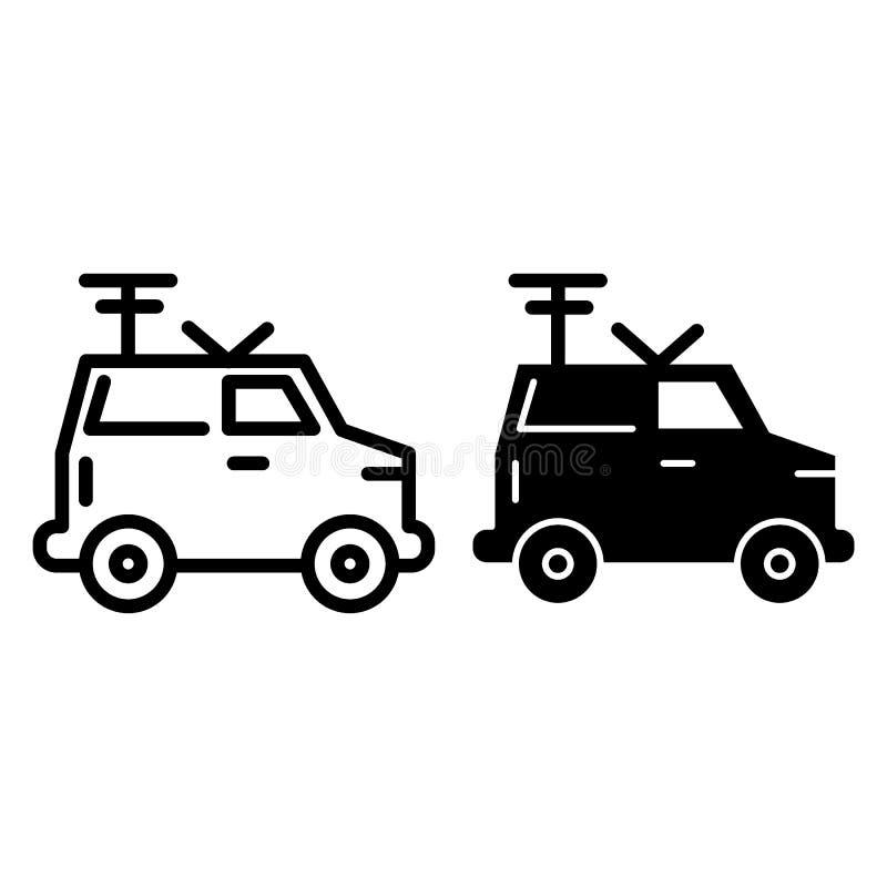Machine, ligne de radio portative et icône de glyph Van avec l'illustration de vecteur d'antenne d'isolement sur le blanc Voiture illustration libre de droits