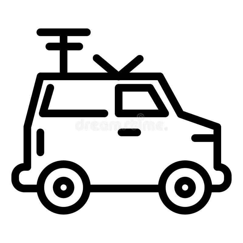 Machine, ligne par radio portative icône Van avec l'illustration de vecteur d'antenne d'isolement sur le blanc Voiture avec le co illustration libre de droits