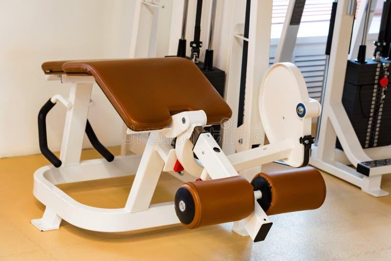 Machine menteuse vide d'exercice de courbe de jambe dans le gymnase moderne image stock