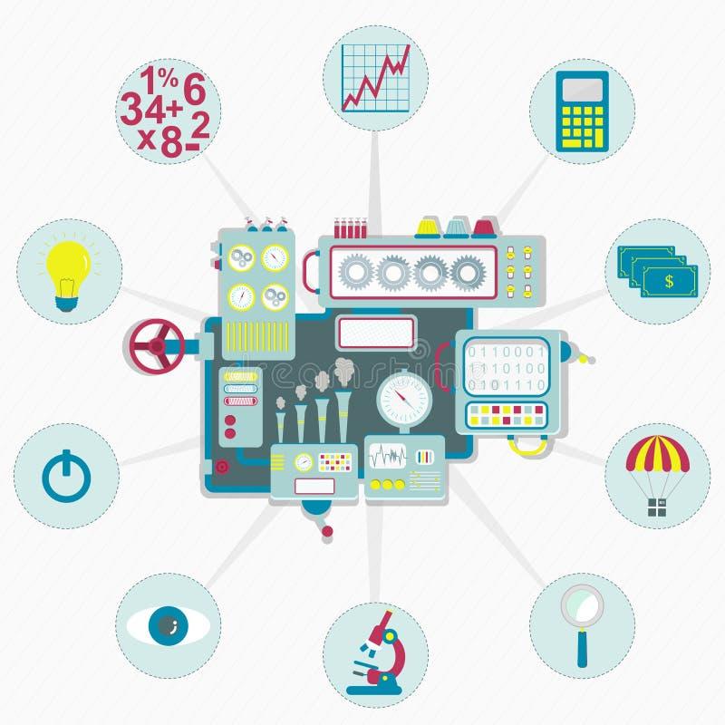Download Machine Met Bedrijfspictogrammen Vector Illustratie - Illustratie bestaande uit beheer, concepten: 54086293