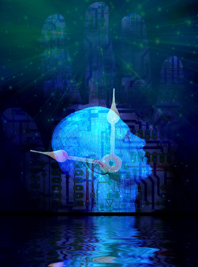 Machine Mind. Silhouette of human head with electric circuit pattern. Clock hands and human palm. Reflections on the water surface stock illustration