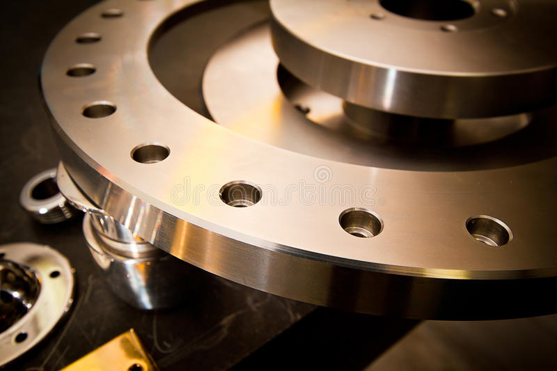 Machine part. Custom-milled machine part made with CNC machine royalty free stock images