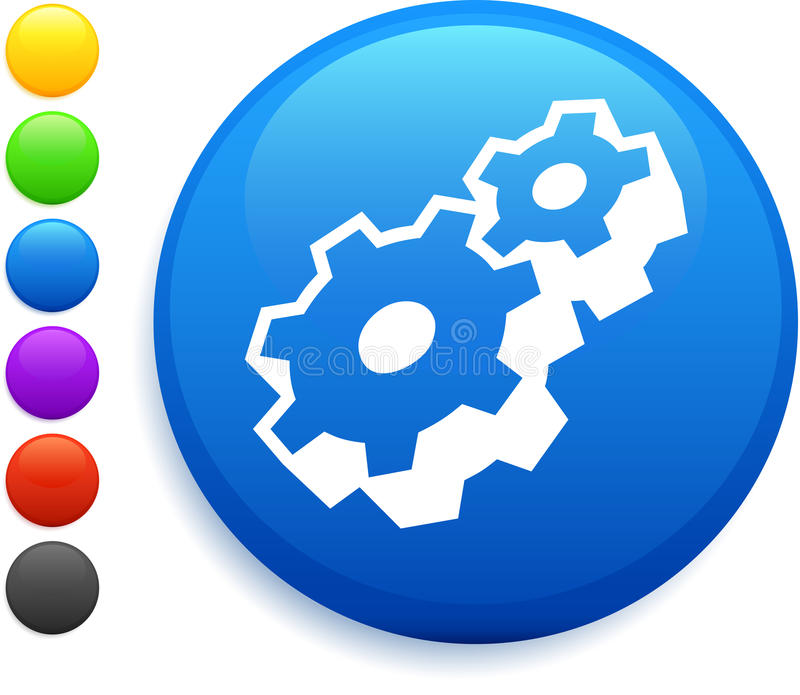 Machine part icon on round internet button. Original illustration 6 color versions included vector illustration