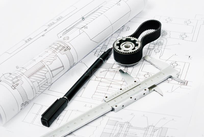 Machine part and penwith caliper, blueprint