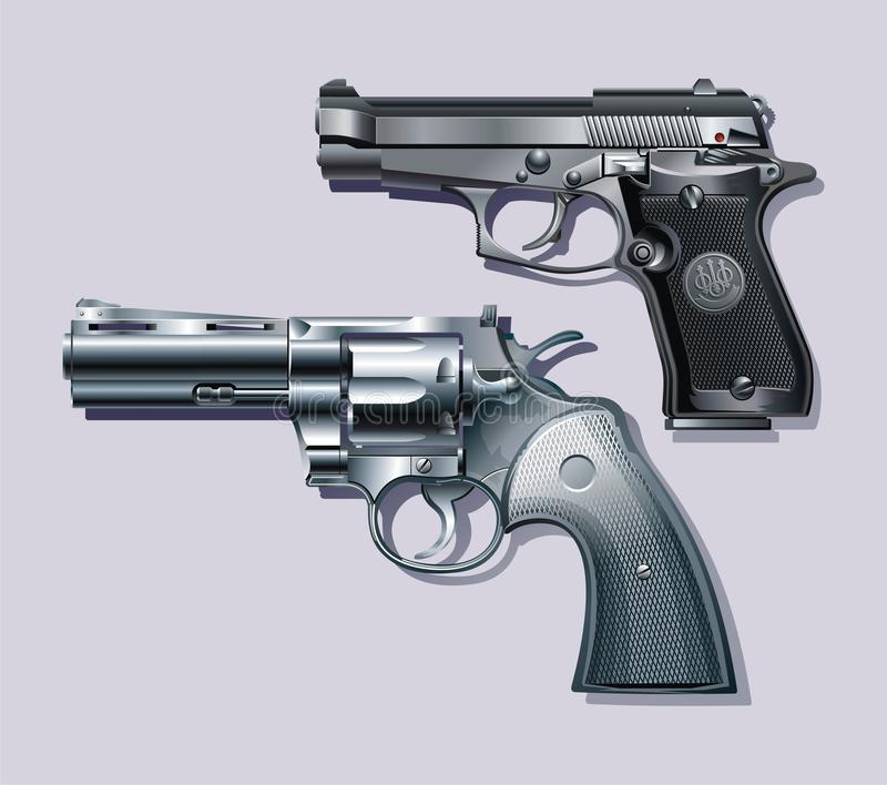Machine pistol and revolver. Background with Machine pistol and revolver stock illustration