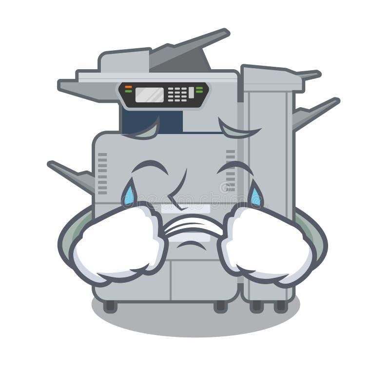 Machine pleurante de copieur au-dessus de la table en bois de mascotte illustration stock