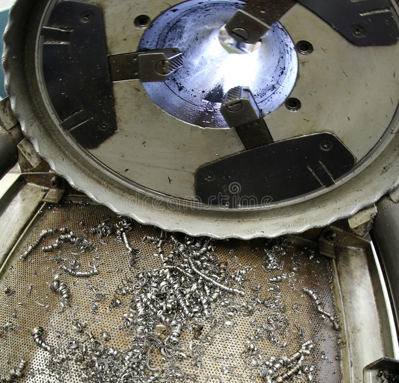 Machine for processing iron and metal shavings stock photos