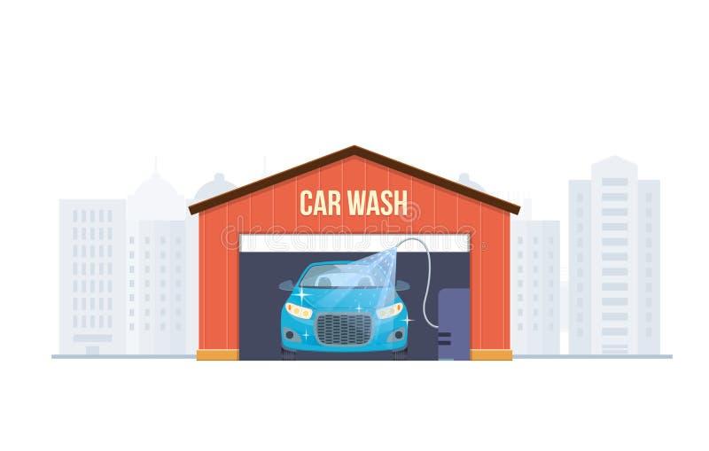 Machine propre de Washington de véhicule, lavage de voiture avec l'éponge et boyau Centre de service de lavage de voiture complèt illustration libre de droits