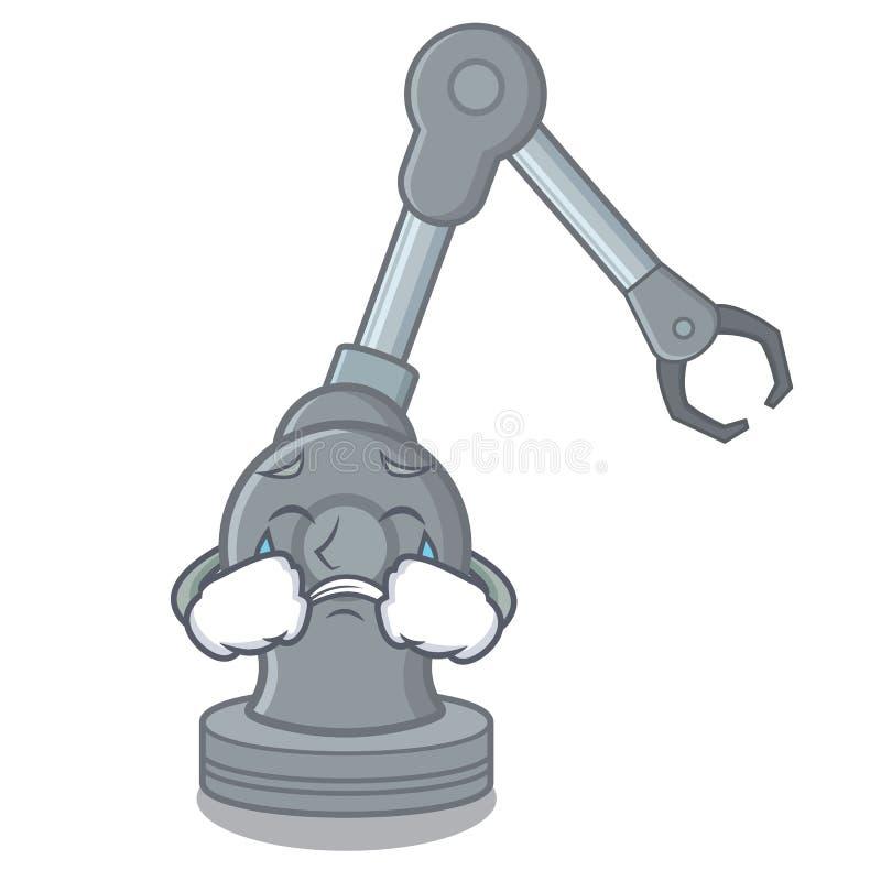 Machine robotique pleurante de bras dans la mascotte illustration stock