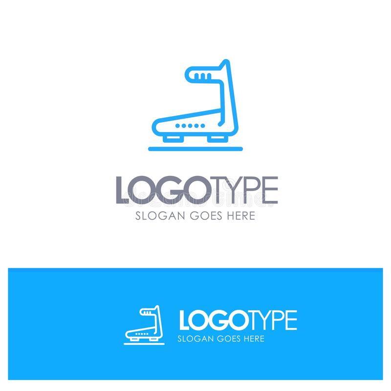 Machine, Running, Track, Treadmill Blue outLine Logo with place for tagline royalty free illustration