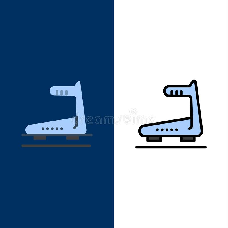 Machine, Running, Track, Treadmill  Icons. Flat and Line Filled Icon Set Vector Blue Background stock illustration