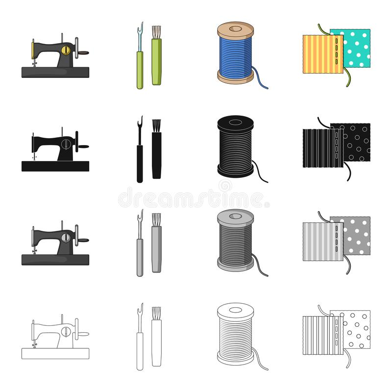 Machine, sewing, equipment, and other web icon in cartoon style.Atelier, factory, workshop, icons in set collection. stock illustration