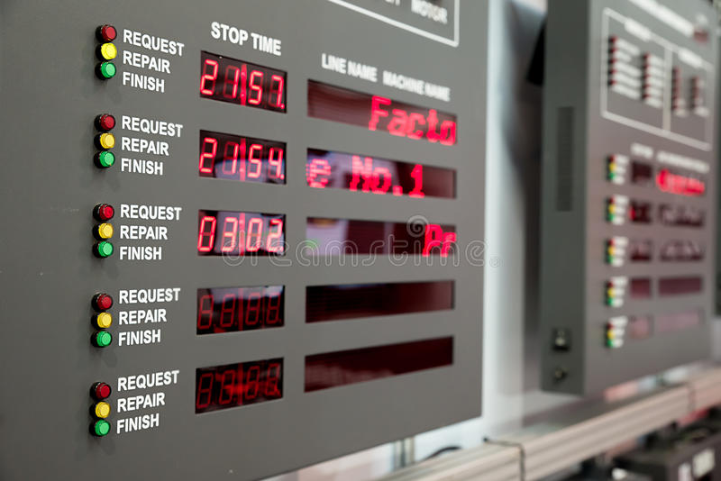 Machine status monitor in control room in factory.  royalty free stock images