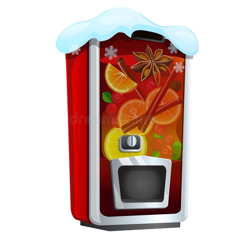 Machine for sugary soda water or mulled wine isolated on a white background. Sketch of Christmas festive poster, party stock illustration