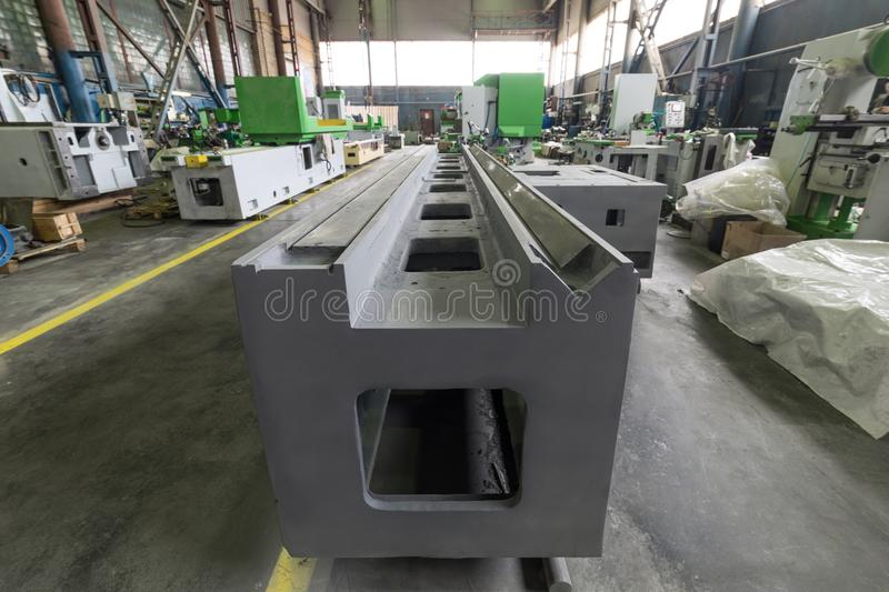 Machine tool base. Assembly shop of a modern factory.  stock photo