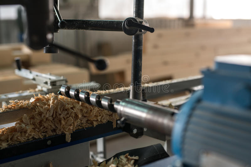 Machine tool with drill for woodworking, close-up stock image