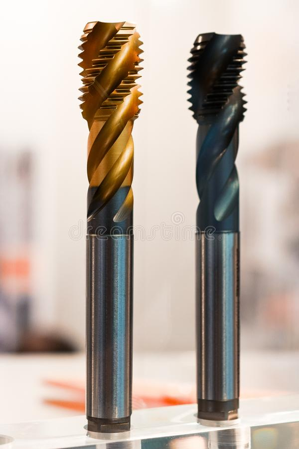 Machine tool threading. Modern thread-cutting tools for CNC machines royalty free stock photography